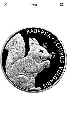 Belarus 2009 20 rubles Squirrel Proof Silver Coin. Comes With Coa