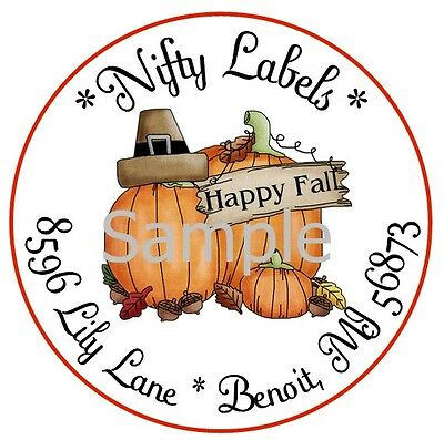 Happy Fall Thanksgiving Pumpkins  #2  ~ Laser Printed Round Address Labels