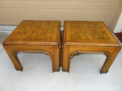 PAIR Burled Walnut Wood ASIAN Flare End Tables Baughman Era - LOCAL PICKUP