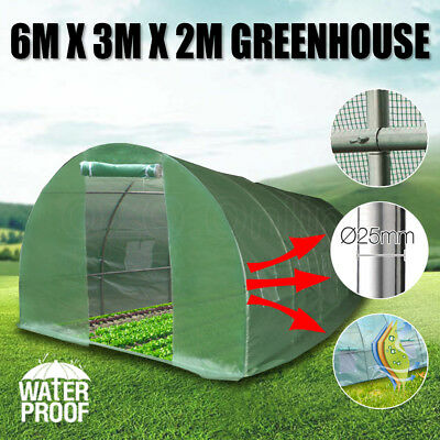 6X3X2M Greenhouse Waterproof Plant Shed PE Cover Arch Roof Tunnel Pestproof