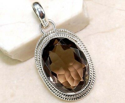 6CT Smoky Topaz 925 Solid Genuine Sterling Silver Pendant Jewelry, S15-3