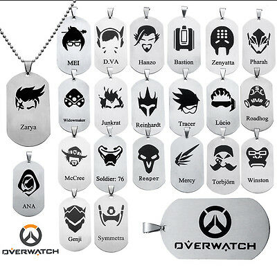 Overwatch All Heros Stainless Steel Chain Necklace Pendant Dog Tag Cosplay Gift