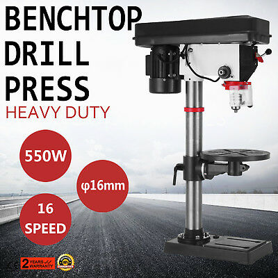 16 Speed Bench-Top Drill 16 mm Drilling Diameter Precision Solid 3/4HP Benchtop
