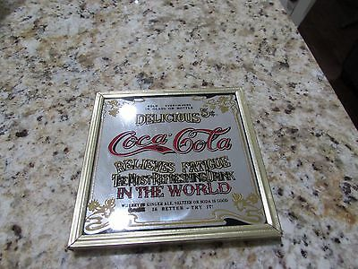 Vintage Coca Cola Mirrored Sign Metal Frame Relieves Fatigue 5 cents