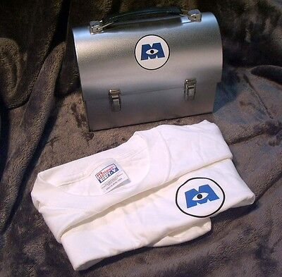 Monsters Inc ~ Promotional Tin Lunch Pail And Xl Tee Shirt ~ New