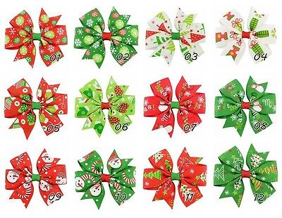 "24 Pcs 3""  Girls Grosgrain Ribbon Hairbows, Hair Bows for Christmas Holidays"