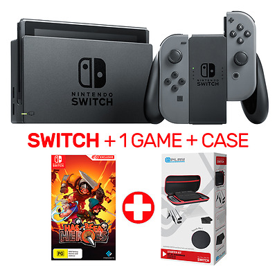 Nintendo Switch Grey Console + 1 Game + Case - Switch - BRAND NEW
