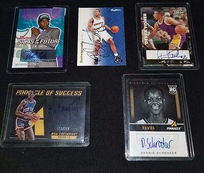 5 different Autograph Basketball cards,D.Fisher,B.J.Armstrong,B.Cartwright +More