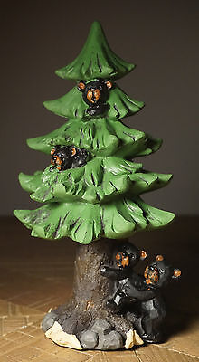 CUTE BLACK BEAR CUBS CLIMBING PINE TREE Lodge Log Cabin Figurine Home Decor NEW
