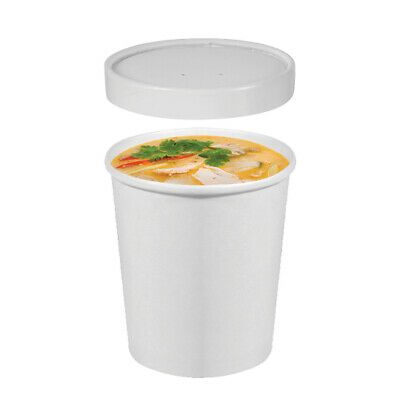 25x Soup Cup with Lid 16oz / 473mL White Disposable Hot Food Container Takeaway