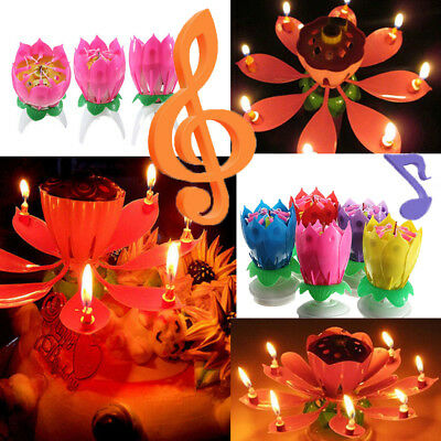 Creative Birthday Candles Music Lotus Flower Blossom Magic Cake Topper Candle