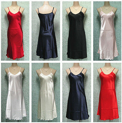 Women Ladies Satin Nightdress Chemise Babydoll Sleepwear Mini Dress Lingerie