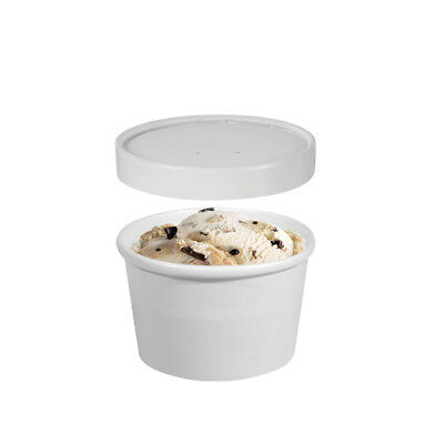 250x Ice Cream Cup w Lid 8oz / 237mL White Disposable Container Takeaway Fruit