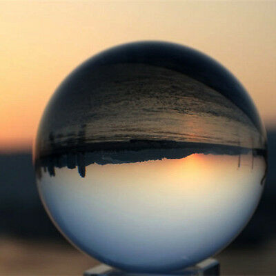 100mm Clear Round Glass Artificial Crystal Magic Ball Sphere Decor Healing Gift