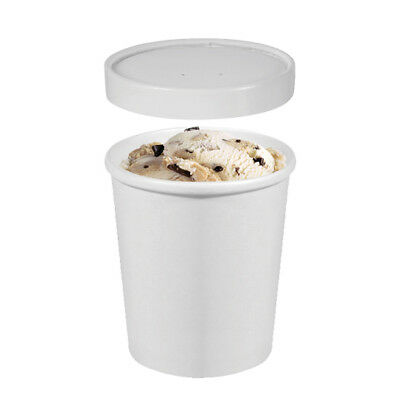 250x Ice Cream Cup w Lid 16oz / 473mL White Disposable Container Takeaway Fruit