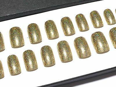 Gold Chrome Short Hand Painted Press On Faux Full False Artificial Glue On Nails