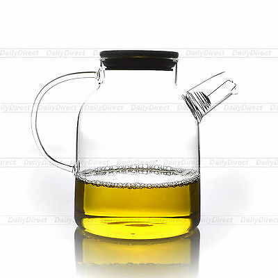 1x 1600ml Handwork Heat Resistant Glass Clear Tea Pot with Filter & Bamboo Lid