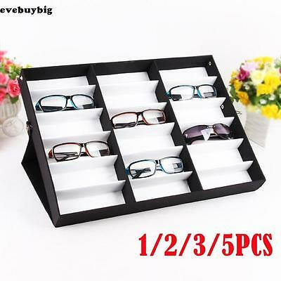 1~5PCS Storage Display Box Eyeglass Eyeglasses Sunglasses Organizer 18 Grid Slot