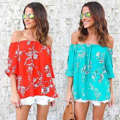 AU New Women Off Shoulder Floral Tops Loose Short Sleeve Casual T-Shirt Blouses