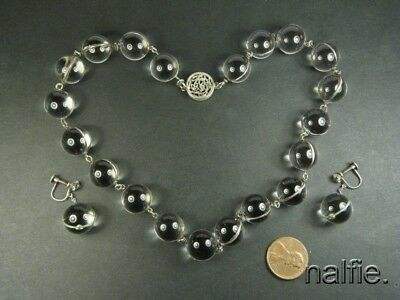 ANTIQUE SILVER ROCK CRYSTAL ORB POOL OF LIGHT NECKLACE & EARRINGS c1900s