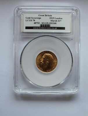 1915 George V Full Gold Sovereign L-Mint  LCGS 78 Coin No 40753