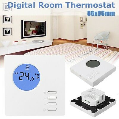 Digital Electronic Room Thermostat Hard Wired Unit With Eco Feature Button Kit
