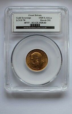 1929 George V Full Gold Sovereign SA-Mint  LCGS 78 Coin No 40757