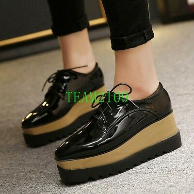 2c8b17a6ed8 Hot New Punk Womens Wedge Mid Heels Brogue Platform Lace up Oxford Shoes  US4.5