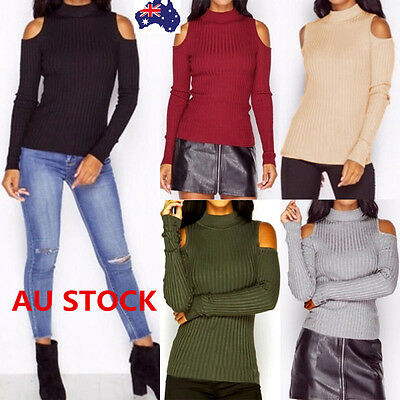Autumn Winter Women Off Shoulder Knitted Tops Long Sleeve Tight Sweater Jumper