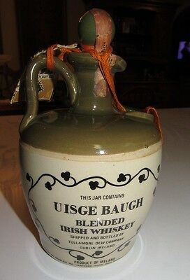 Vintage Uisge Baugh / Tullamore Dew  Blended Wiskey Bottle W/tag and Stopper
