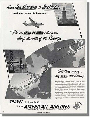 1948 San Francisco to Stockholm - American Airline Ad 3c9fdb26faad6