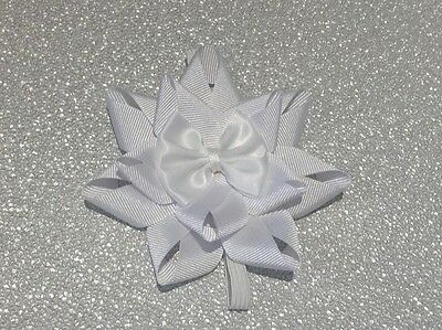 Preemie prem romany reborn baby plain white ribbon bow headband with bow center