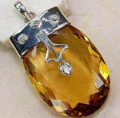 24CT Golden Citrine 925 Solid Sterling Silver Pendant Jewelry , S14-2