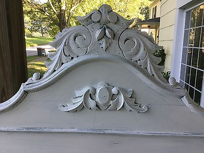 Shabby Cottage Style Victorian High Back Bed, Full + Carved Accents Elegant Tlc