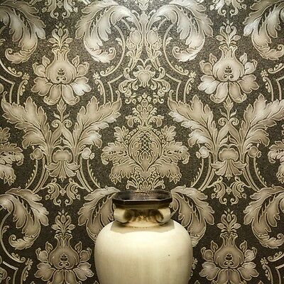Dark Gold Damask Wallpaper on Crushed Texture Paste the Wall Vinyl JC2008-6