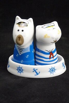 Salt And Pepper Shaker Ceramic Blue & White Sailor Dog & Cat With Base, Free Pos