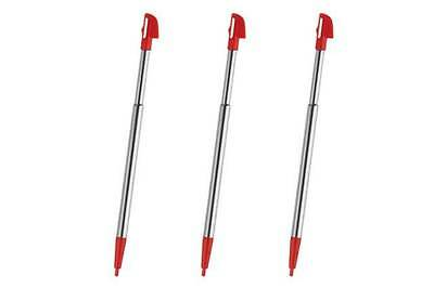 Hellfire Trading 3x Wii U Red Metal Retractable Stylus Touch Pen for Nintendo