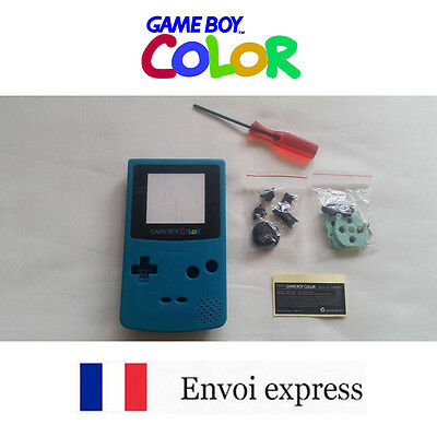 Coque GAME BOY COLOR bleu cyan NEUF NEW + tournevis triwing -étui shell case GBC