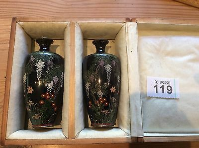 "Boxed Pair Of Japanese Meiji Cloisonne Enamel Miniature Vases Approx 5"" Tall"
