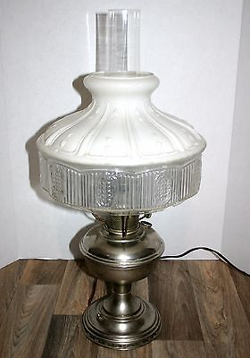Antique Aladdin Oil Lamp wired for electric in the 1940's Works well Victorian