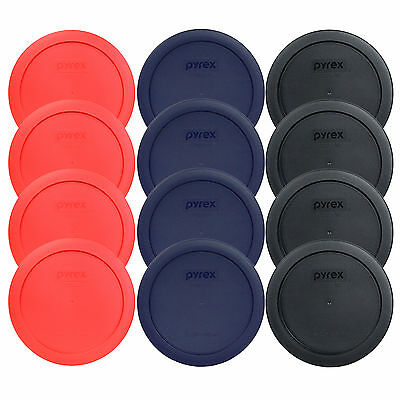 Pyrex 7201-PC 4 Cup (4) Black (4) Blue & (4) Red Round Lids 12PK for Glass Bowl