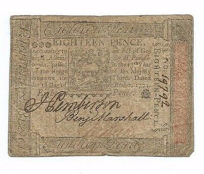 October 1773 Pennsylvania Colonial 18 Pence Note