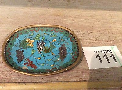 "LATE 19TH C MEIJI PERIOD  JAPANESE CLOISONNE SMALL Dish Platter 3"" Long"