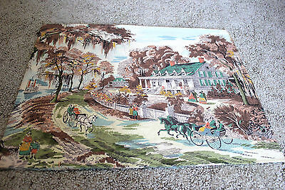 Vintage Romantic Tapestry Scene Fabric Painting Wall Hanging linen horse buggy