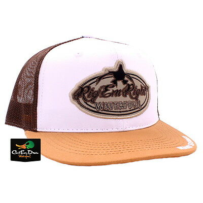 24d493b8b33 Rig em Right Waterfowl New Bill White Front And Brown Trucker Mesh Hat Cap  Logo