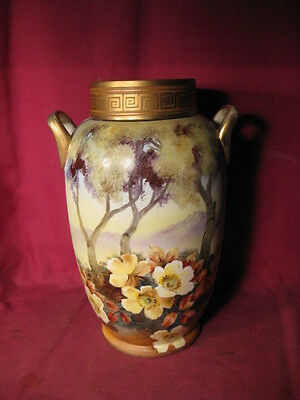 "11 3/4"" Tall Antique Nippon Vase w Hand Painted Flowers & M In Wreath Mark"