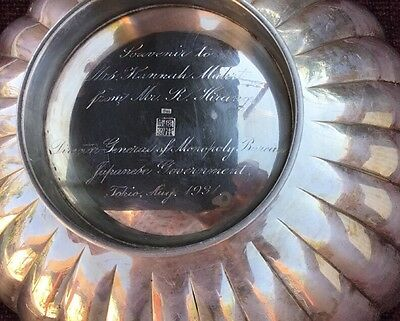 Japanese Sterling Silver Fluted Beautiful Bowl from August 1934. Engraved.