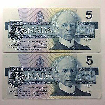 1986 Two Consecutive Canada Five 5 Dollars FPS Series Uncirculated Banknote A979