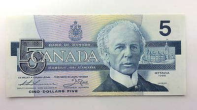 1986 Canada Five 5 Dollars FNT Series New Bill Note Uncirculated Banknote A980