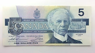 1986 Canada Five 5 Dollars FNS Series New Bill Note Uncirculated Banknote A981